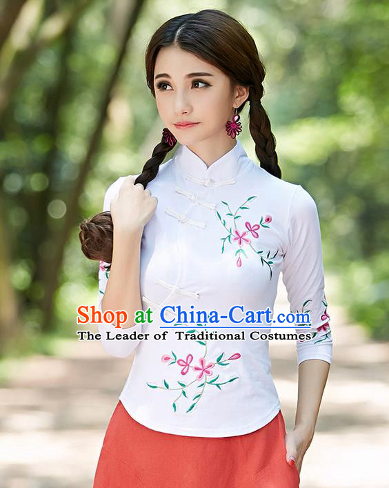 Traditional Ancient Chinese National Costume, Elegant Hanfu Plated Buttons White Shirt, China Tang Suit Embroidery Plum Blossom Blouse Cheongsam Blouse Upper Outer Garment Shirt Clothing for Women