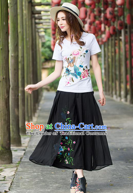 Traditional Ancient Chinese National Costume Loose Pants, Elegant Hanfu Embroidering Flower Black Pants, China Tang Suit Linen Wide Leg Pants for Women
