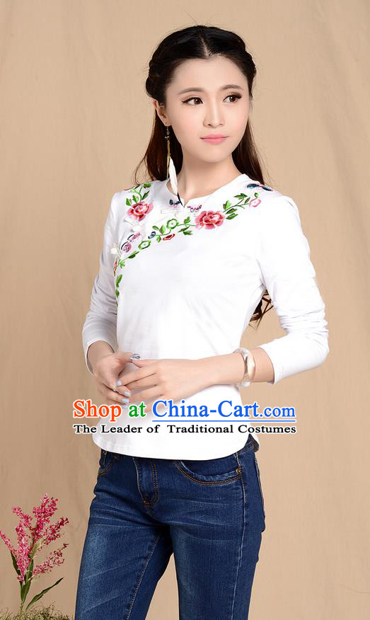Traditional Ancient Chinese National Costume, Elegant Hanfu Plated Buttons Stand Collar Embroidered Shirt, China Tang Suit Embroidering Flower White Blouse Cheongsam Upper Outer Garment Shirts Clothing for Women