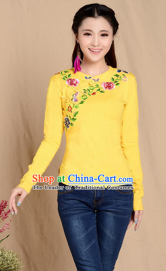 Traditional Ancient Chinese National Costume, Elegant Hanfu Plated Buttons Stand Collar Embroidered Shirt, China Tang Suit Embroidering Flower Yellow Blouse Cheongsam Upper Outer Garment Shirts Clothing for Women