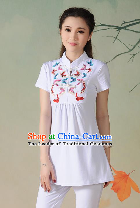 Traditional Ancient Chinese National Costume, Elegant Hanfu Embroidered Butterfly Stand Collar T-Shirt, China Tang Suit White Blouse Cheongsam Upper Outer Garment Qipao Shirts Clothing for Women