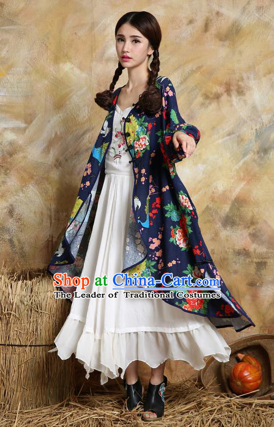Traditional Ancient Chinese National Costume, Elegant Hanfu Cardigan Coat, China Tang Suit Plated Buttons Cape, Upper Outer Garment Dust Coat Cloak Clothing for Women