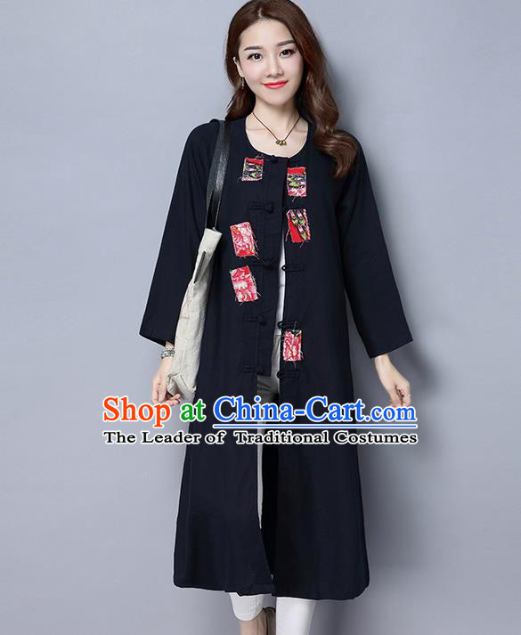 Traditional Ancient Chinese National Costume, Elegant Hanfu Coat, China Tang Suit Plated Buttons Black Long Coat, Upper Outer Garment Dust Coat Clothing for Women