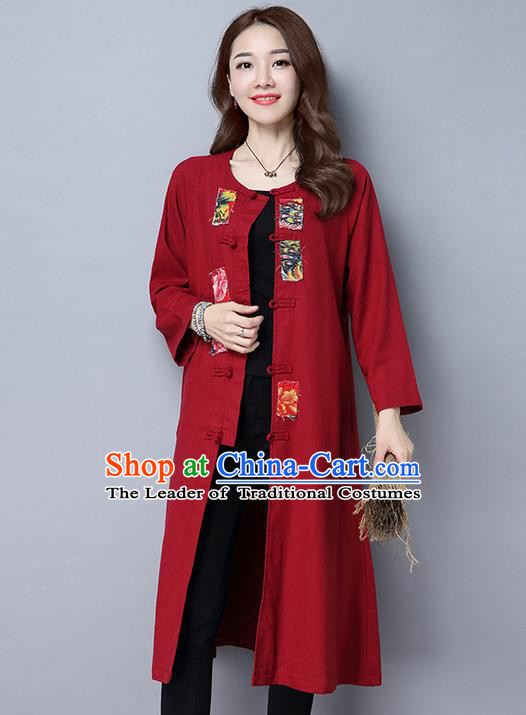 Traditional Ancient Chinese National Costume, Elegant Hanfu Coat, China Tang Suit Plated Buttons Red Long Coat, Upper Outer Garment Dust Coat Clothing for Women