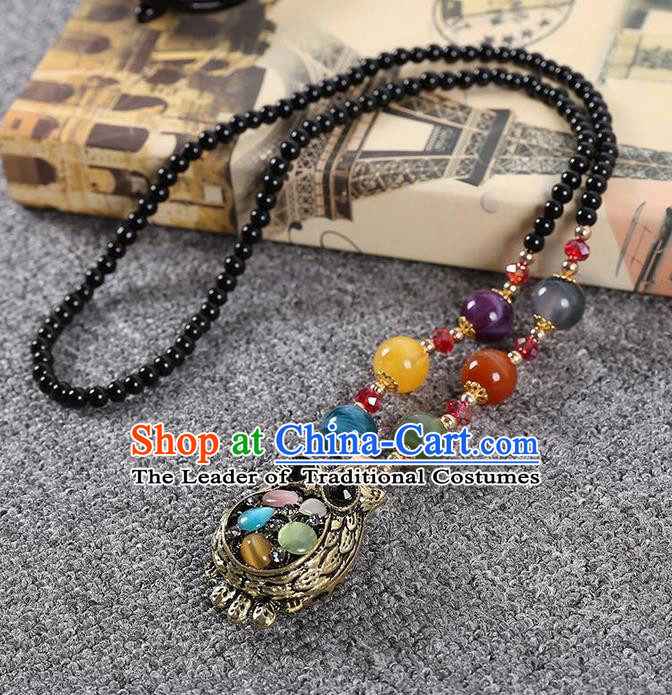 Traditional Chinese Miao Nationality Crafts, Hmong Handmade Tassel Owl Pendant, Miao Ethnic Minority Necklace Accessories Pendant for Women