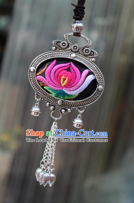 Traditional Chinese Miao Nationality Crafts Jewelry Accessory, Hmong Handmade Miao Silver Bells Tassel Double Side Embroidery Flowers Pendant, Miao Ethnic Minority Bells Necklace Accessories Sweater Chain Pendant for Women