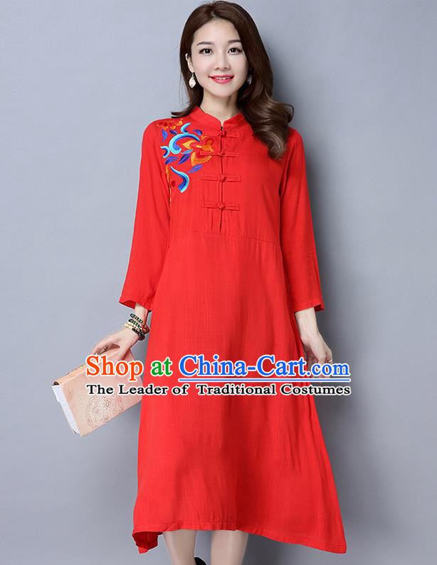 Traditional Ancient Chinese National Costume, Elegant Hanfu Linen Plated Buttons Blue Embroidery Qipao Dress, China Tang Suit Cheongsam Upper Outer Garment Elegant Dress Clothing for Women