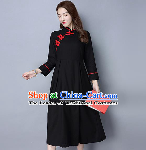 Traditional Ancient Chinese National Costume, Elegant Hanfu Plated Buttons Qipao Dress, China Tang Suit Cheongsam Upper Outer Garment Black Elegant Dress Clothing for Women