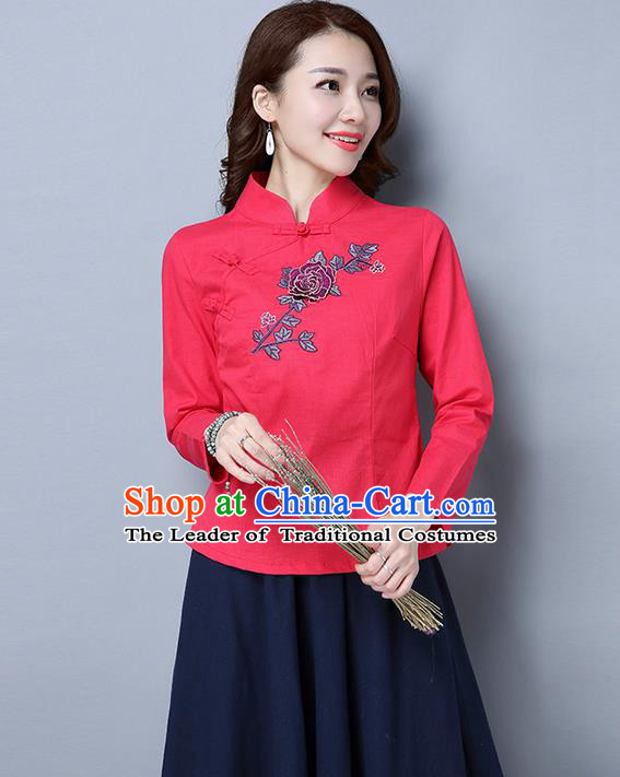 Traditional Ancient Chinese National Costume, Elegant Hanfu Embroidered Plated Buttons Shirt, China Tang Suit Embroidered Peony Red Blouse Cheongsam Upper Outer Garment Qipao Shirts Clothing for Women