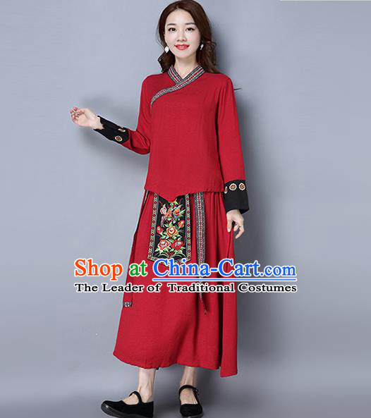Traditional Ancient Chinese Ancient Costume, Elegant Hanfu Clothing Red Embroidered Blouse and Skirt, China Tang Dynasty Folk Dance Blouse and Skirt Complete Set for Women