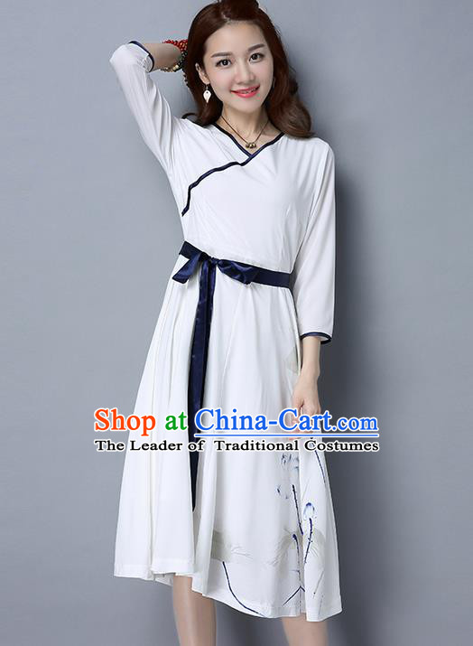 Traditional Ancient Chinese National Costume, Elegant Hanfu Qipao Waistband Dress, China Tang Suit Cheongsam Upper Outer Garment Elegant Dress Clothing for Women