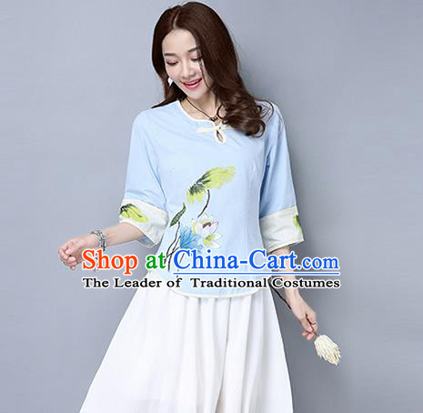 Traditional Ancient Chinese National Costume, Elegant Hanfu Painting Lotus T-Shirt, China Tang Suit Blue Blouse Cheongsam Upper Outer Garment Qipao Shirts Clothing for Women