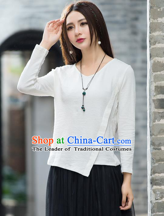 Traditional Ancient Chinese National Costume, Elegant Hanfu Embroidered T-Shirt, China Tang Suit Embroidered White Blouse Cheongsam Upper Outer Garment Qipao Shirts Clothing for Women