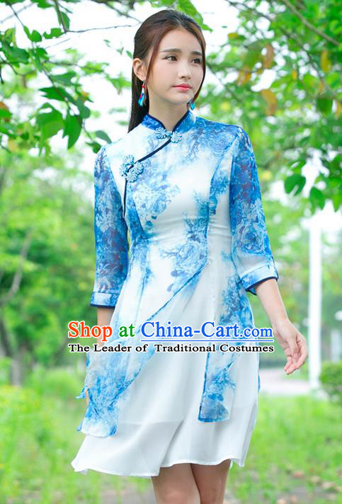 Traditional Ancient Chinese National Costume, Elegant Hanfu Plated Buttons Chiffon Printing Dress, China Tang Suit Cheongsam Upper Outer Garment Blue Dress Clothing for Women