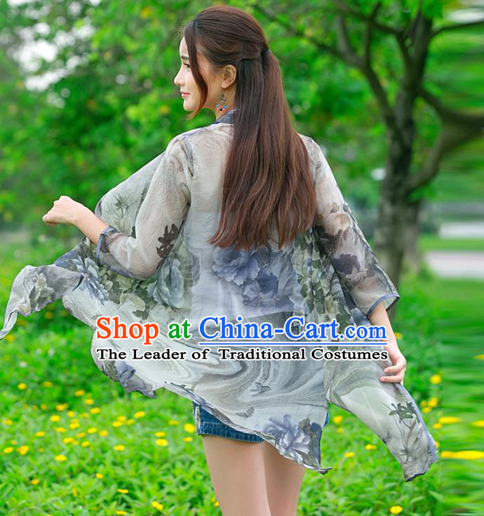 Traditional Ancient Chinese National Costume, Elegant Hanfu Chiffon Cardigan Coat, China Tang Suit Plated Buttons Cape, Upper Outer Garment Grey Dust Coat Cloak Clothing for Women