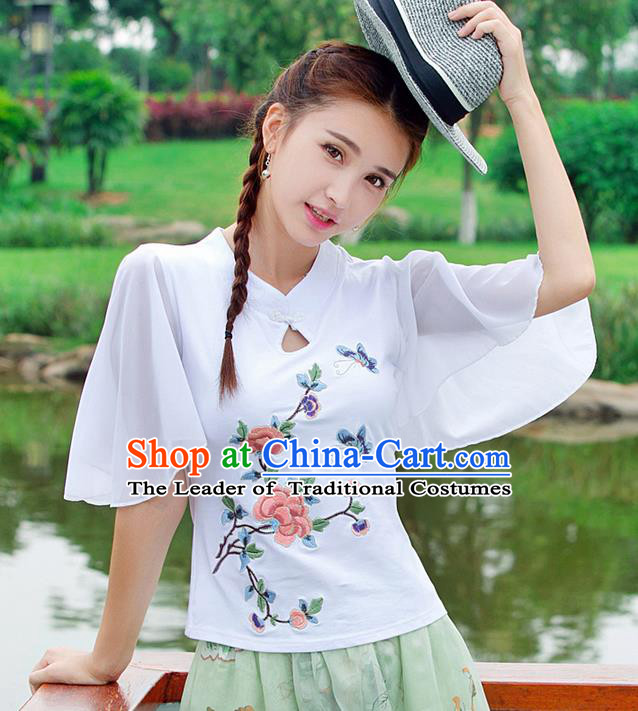 Traditional Ancient Chinese National Costume, Elegant Hanfu Embroidered Butterfly Flowers White T-Shirt, China Tang Suit Embroidered Chiffon Blouse Cheongsam Upper Outer Garment Qipao Shirts Clothing for Women