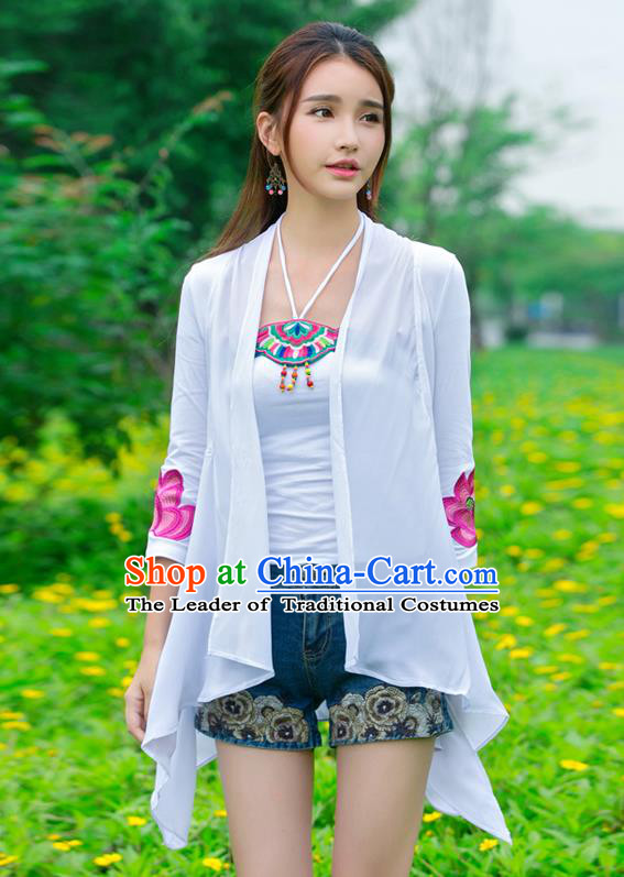Traditional Ancient Chinese National Costume, Elegant Hanfu Cape Coat, China Tang Suit Stand Collar Embroidered Lotus Cappa, Upper Outer Garment Embroidered Cloak Clothing for Women