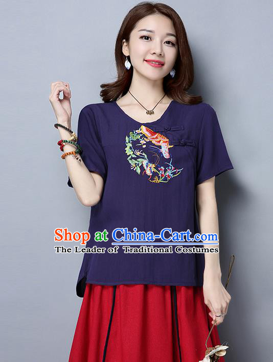 Traditional Ancient Chinese National Costume, Elegant Hanfu Short Sleeve Plated Buttons T-Shirt, China Tang Suit Embroidered Navy Blouse Cheongsam Upper Outer Garment Shirts Clothing for Women