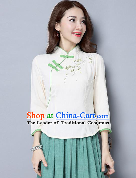 Traditional Ancient Chinese National Costume, Elegant Hanfu Stand Collar Plated Buttons Qipao T-Shirt, China Tang Suit Embroidered White Blouse Cheongsam Upper Outer Garment Shirts Clothing for Women