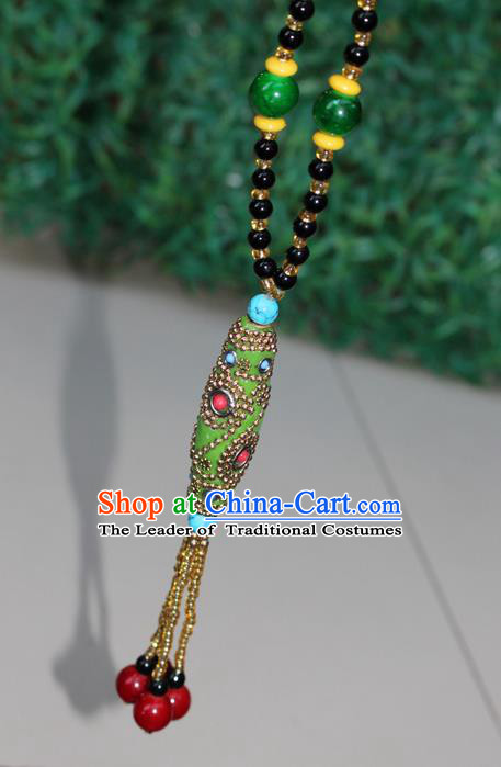 Traditional Chinese Miao Nationality Crafts Jewelry Accessory, Hmong Handmade Black Beads Tassel Green Pendant, Miao Ethnic Minority Necklace Accessories Sweater Chain Pendant for Women