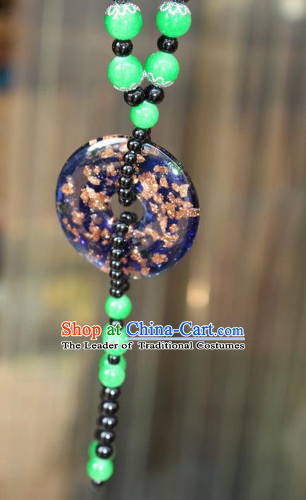 Traditional Chinese Miao Nationality Crafts Jewelry Accessory, Hmong Handmade Green Beads Tassel Pendant, Miao Ethnic Minority Necklace Accessories Sweater Chain Pendant for Women