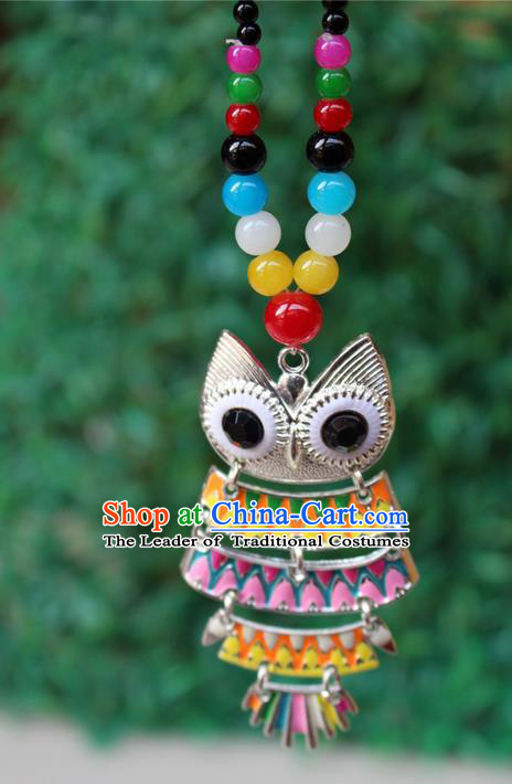 Traditional Chinese Miao Nationality Crafts Jewelry Accessory, Hmong Handmade Black Beads Tassel Owl Pendant, Miao Ethnic Minority Necklace Accessories Sweater Chain Pendant for Women