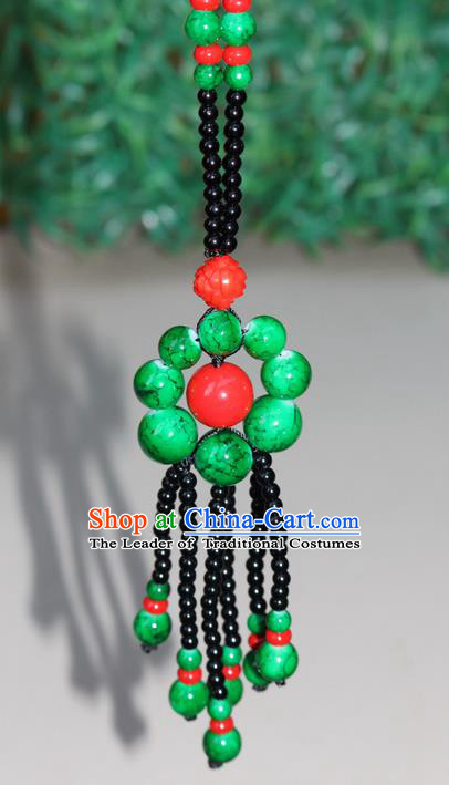 Traditional Chinese Miao Nationality Crafts Jewelry Accessory, Hmong Handmade Beads Tassel Green Flowers Pendant, Miao Ethnic Minority Necklace Accessories Sweater Chain Pendant for Women