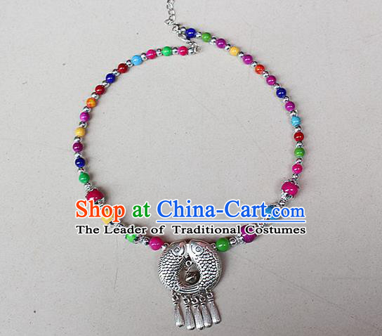 Traditional Chinese Miao Nationality Crafts Jewelry Accessory, Hmong Handmade Miao Silver Bells Tassel Collar, Miao Ethnic Minority Beads Necklace Accessories Headwear for Women