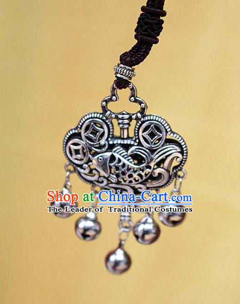 Traditional Chinese Miao Nationality Crafts Jewelry Accessory, Hmong Handmade Miao Silver Bells Tassel Longevity Lock Fish Pendant, Miao Ethnic Minority Necklace Accessories Sweater Chain Pendant for Women