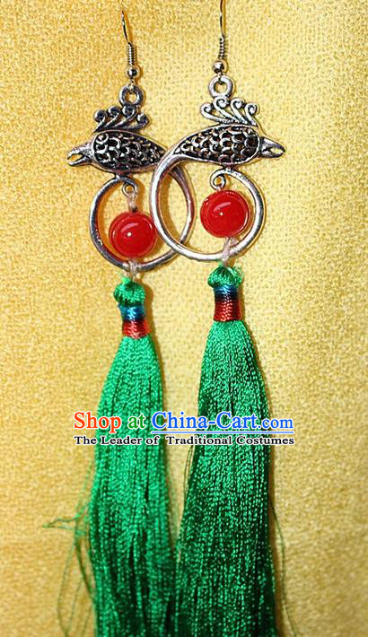 Traditional Chinese Miao Nationality Crafts Jewelry Accessory Classical Earbob Accessories, Hmong Handmade Miao Silver Phoenix Palace Lady Green Silk Tassel Earrings, Miao Ethnic Minority Eardrop for Women