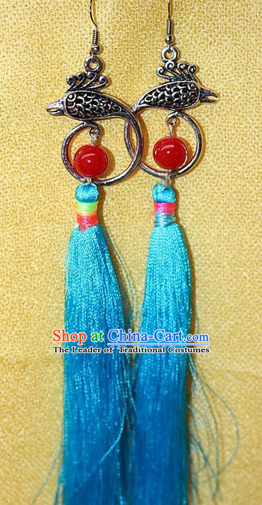 Traditional Chinese Miao Nationality Crafts Jewelry Accessory Classical Earbob Accessories, Hmong Handmade Miao Silver Phoenix Palace Lady Blue Silk Tassel Earrings, Miao Ethnic Minority Eardrop for Women
