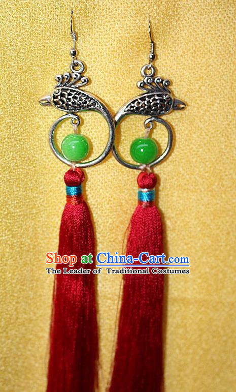 Traditional Chinese Miao Nationality Crafts Jewelry Accessory Classical Earbob Accessories, Hmong Handmade Miao Silver Phoenix Palace Lady Red Silk Tassel Earrings, Miao Ethnic Minority Eardrop for Women