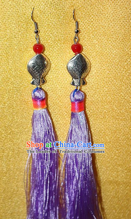 Traditional Chinese Miao Nationality Crafts Jewelry Accessory Classical Earbob Accessories, Hmong Handmade Miao Silver Kiss Fish Palace Lady Purple Silk Tassel Earrings, Miao Ethnic Minority Eardrop for Women