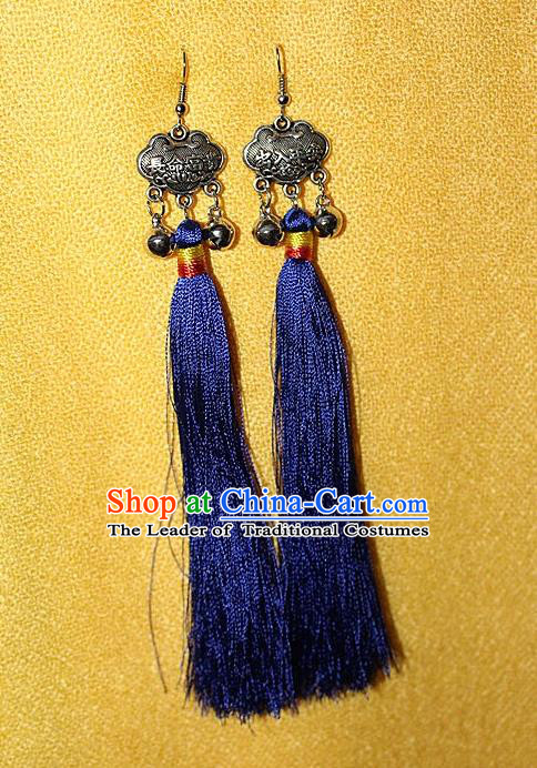 Traditional Chinese Miao Nationality Crafts Jewelry Accessory Classical Earbob Accessories, Hmong Handmade Miao Silver Longevity Lock Palace Lady Royalblue Silk Tassel Earrings, Miao Ethnic Minority Eardrop for Women