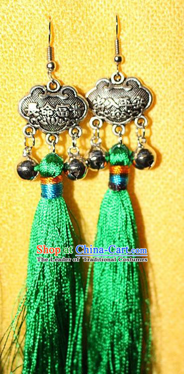 Traditional Chinese Miao Nationality Crafts Jewelry Accessory Classical Earbob Accessories, Hmong Handmade Miao Silver Longevity Lock Palace Lady Green Silk Tassel Earrings, Miao Ethnic Minority Eardrop for Women