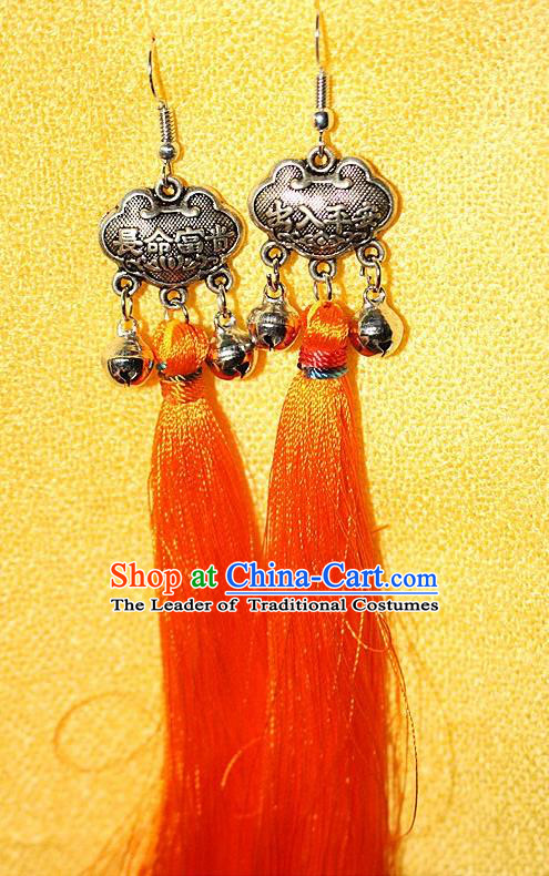 Traditional Chinese Miao Nationality Crafts Jewelry Accessory Classical Earbob Accessories, Hmong Handmade Miao Silver Longevity Lock Palace Lady Silk Tassel Earrings, Miao Ethnic Minority Eardrop for Women