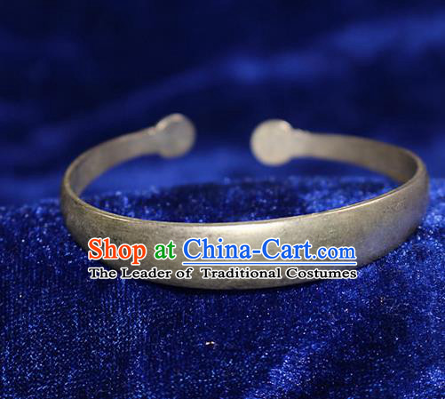 Traditional Chinese Miao Nationality Crafts Jewelry Accessory Bangle, Hmong Handmade Miao Silver Bracelet, Miao Ethnic Minority Silver Bracelet Accessories for Women