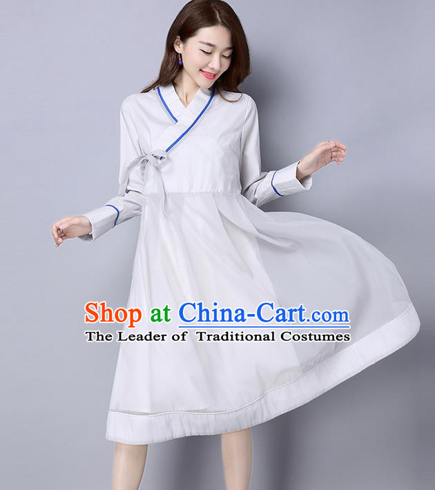 Traditional Ancient Chinese National Costume, Elegant Hanfu Slant Opening Dress, China Tang Suit Cheongsam Dress Upper Outer Garment Dress Clothing for Women
