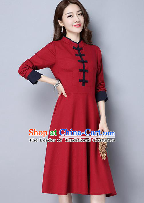 Traditional Ancient Chinese National Costume, Elegant Hanfu Stand Collar Plated Buttons Red Dress, China Tang Suit Cheongsam Dress Upper Outer Garment Dress Clothing for Women