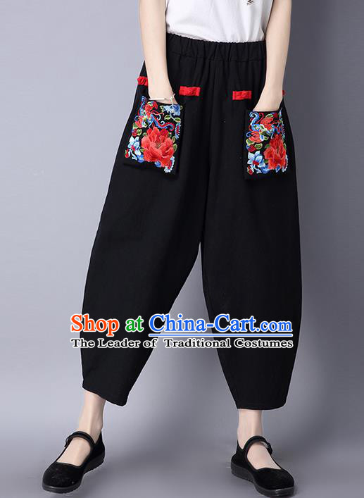 Traditional Ancient Chinese National Costume Loose Pants, Elegant Hanfu Embroidery Peony Pants, China Tang Suit Black Wide Leg Pants for Women