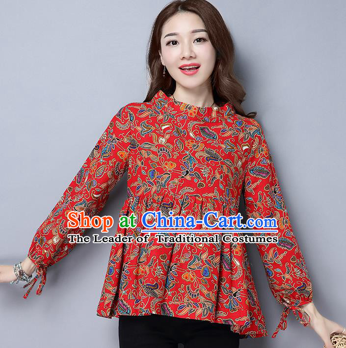 Traditional Ancient Chinese National Costume, Elegant Hanfu Puff Sleeve Qipao Shirt, China Tang Suit Red Blouse Cheongsam Upper Outer Garment Shirts Clothing for Women