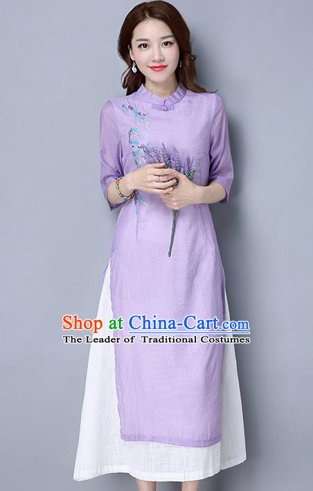 Traditional Ancient Chinese National Costume, Elegant Hanfu Mandarin Qipao Embroidered Dress, China Tang Suit Cheongsam Upper Outer Garment Purple Elegant Dress Clothing for Women