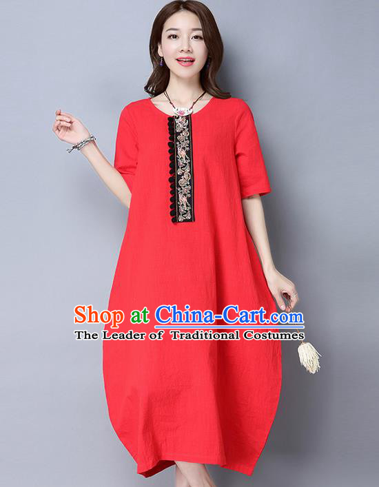 Traditional Ancient Chinese National Costume, Elegant Hanfu Linen Red Embroidery Dress, China Tang Suit Cheongsam Upper Outer Garment Elegant Dress Clothing for Women