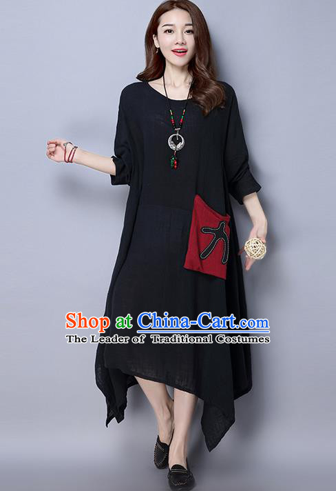 Traditional Ancient Chinese National Costume, Elegant Hanfu Linen Round Collar Black Dress, China Tang Suit Cheongsam Upper Outer Garment Elegant Dress Clothing for Women