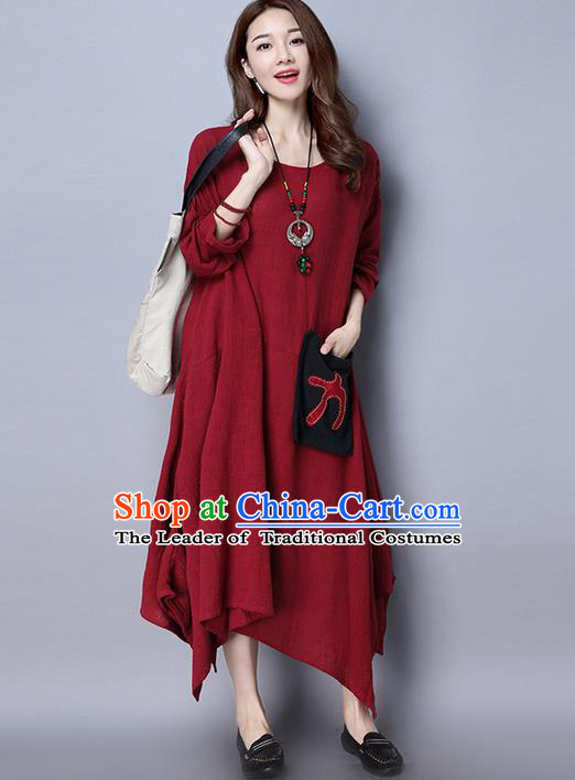 Traditional Ancient Chinese National Costume, Elegant Hanfu Linen Round Collar Red Dress, China Tang Suit Cheongsam Upper Outer Garment Elegant Dress Clothing for Women