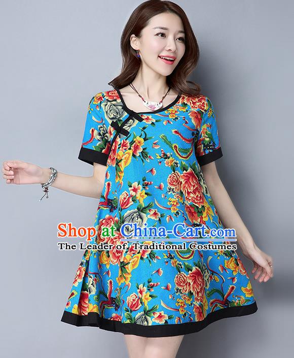 Traditional Ancient Chinese National Costume, Elegant Hanfu Linen Round Collar Plated Buttons Blue Short Dress, China Tang Suit Cheongsam Upper Outer Garment Elegant Dress Clothing for Women