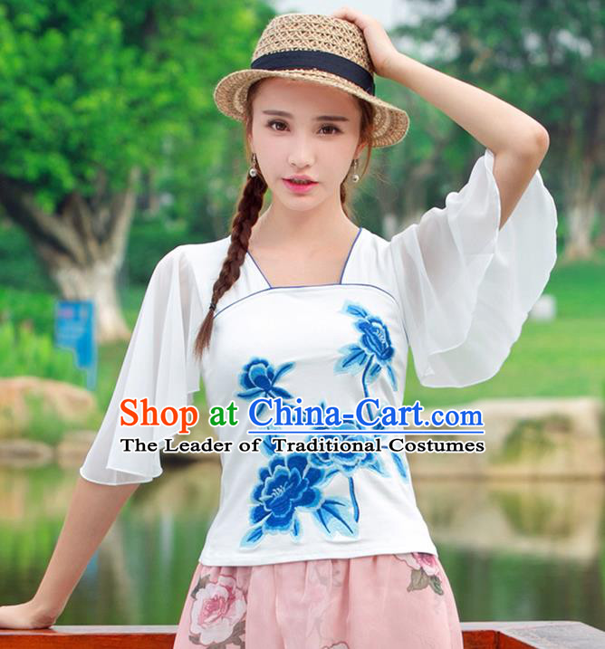 Traditional Ancient Chinese National Costume, Elegant Hanfu Embroidered Blue Peony T-Shirt, China Tang Suit Mandarin Sleeve Blouse Cheongsam Qipao Shirts Clothing for Women
