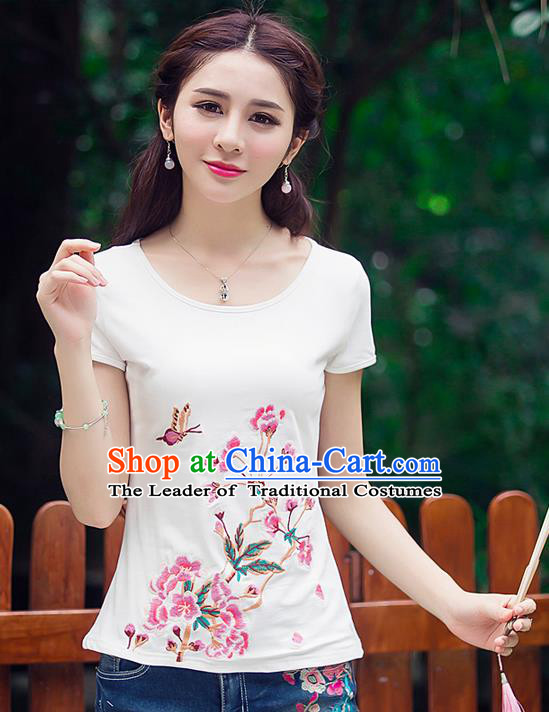 Traditional Ancient Chinese National Costume, Elegant Hanfu Round Collar Embroidery Flowers Butterfly White Shirt, China Tang Suit Blouse Cheongsam Upper Outer Garment Qipao Shirts Clothing for Women