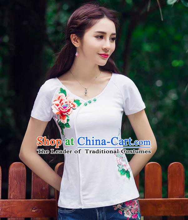 Traditional Ancient Chinese National Costume, Elegant Hanfu Embroidery Peony Flowers White Shirt, China Tang Suit Blouse Cheongsam Upper Outer Garment Qipao Shirts Clothing for Women