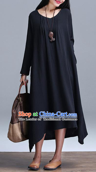 Traditional Ancient Chinese National Costume, Elegant Hanfu Linen Black Dress, China Tang Suit Cheongsam Upper Outer Garment Elegant Dress Clothing for Women
